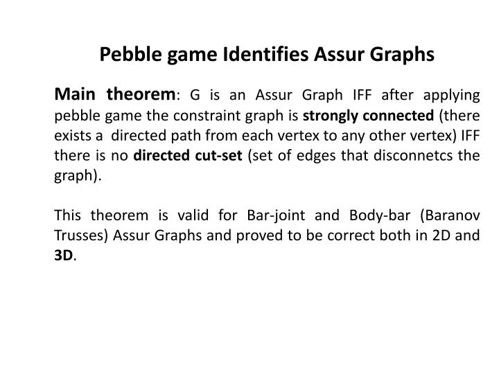 Pebble game Identifies Assur Graphs