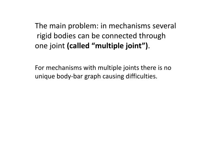 The main problem: in mechanisms several