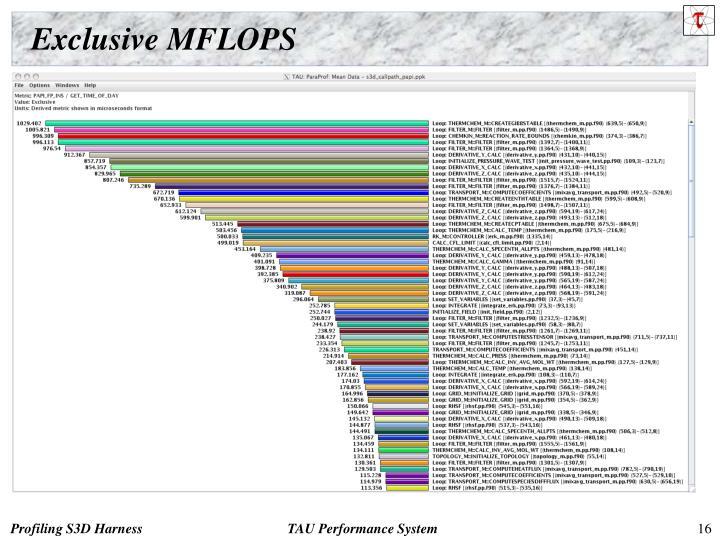 Exclusive MFLOPS