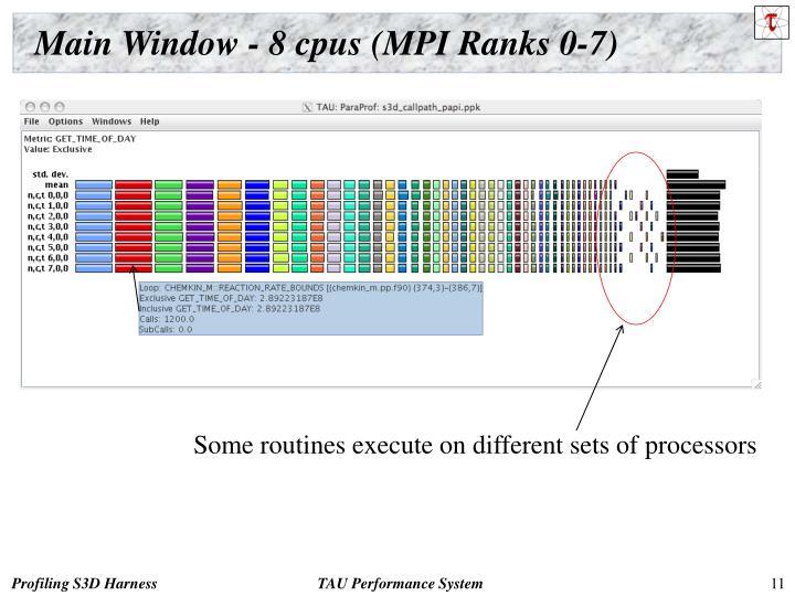 Main Window - 8 cpus (MPI Ranks 0-7)
