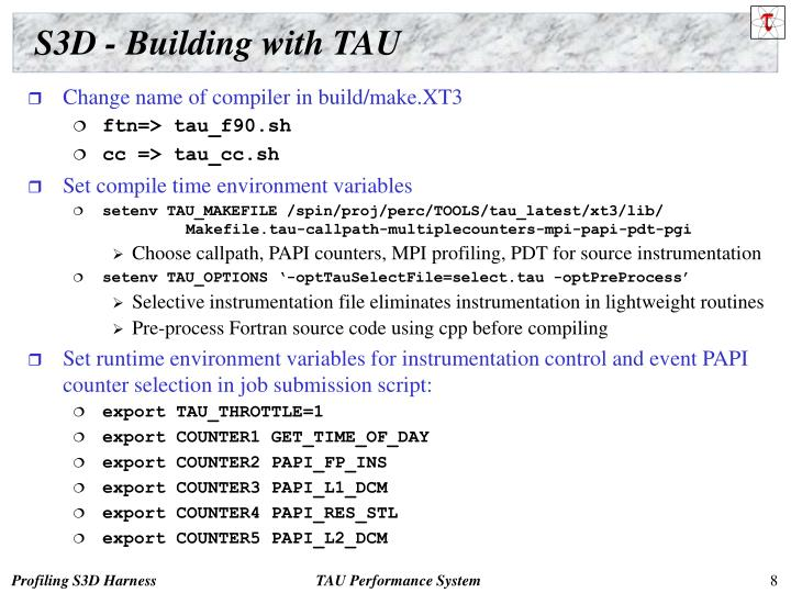 S3D - Building with TAU
