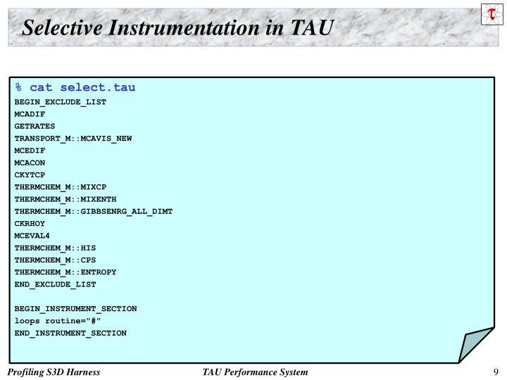 Selective Instrumentation in TAU