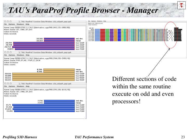 TAU's ParaProf Profile Browser - Manager