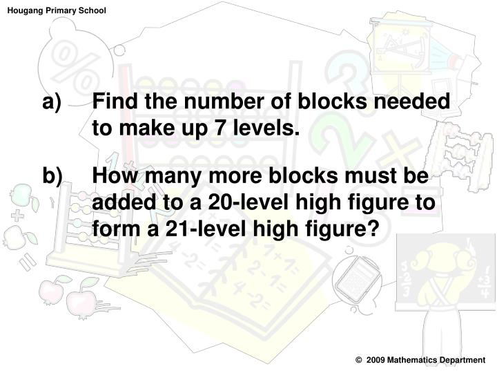 Find the number of blocks needed  to make up 7 levels.