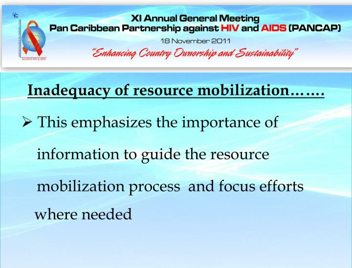 Inadequacy of resource mobilization…….