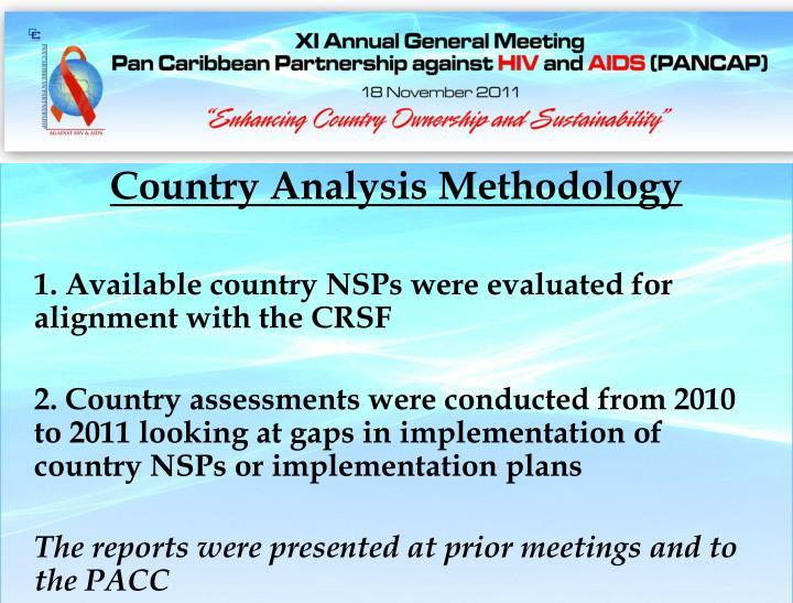 Country Analysis Methodology