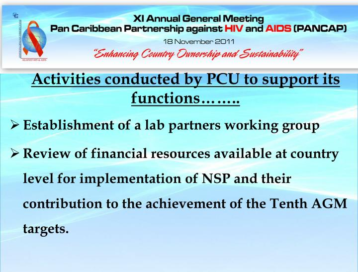 Activities conducted by PCU to support its functions……..
