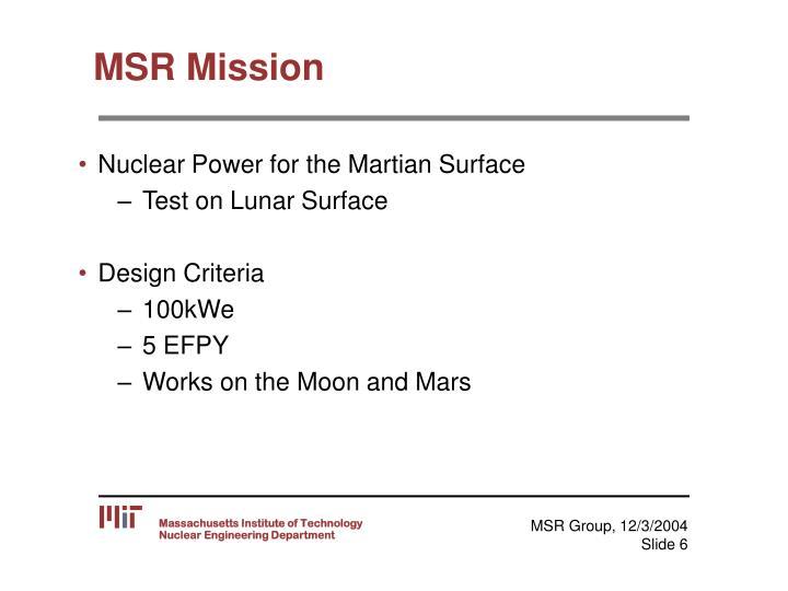 MSR Mission
