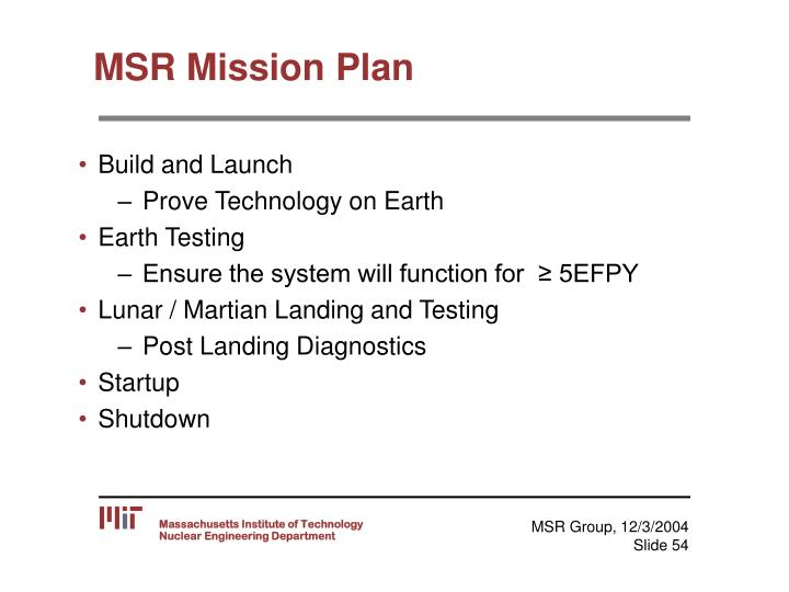 MSR Mission Plan