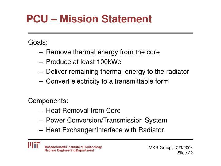 PCU – Mission Statement