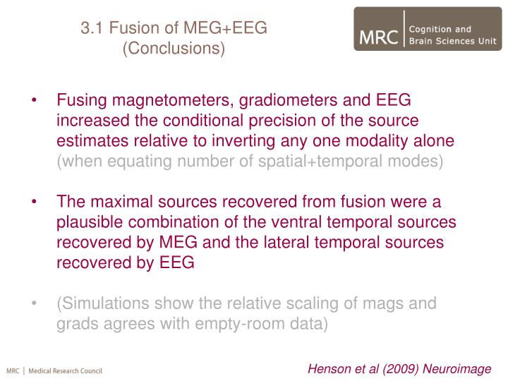 Fusing magnetometers, gradiometers and EEG increased the conditional precision of the source estimates relative to inverting any one modality alone