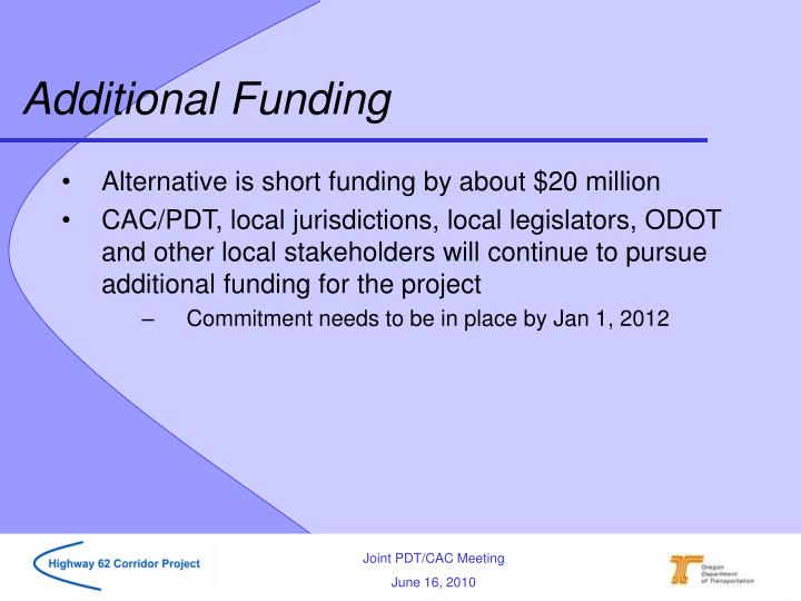 Additional Funding