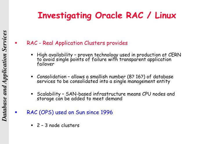Investigating Oracle RAC / Linux