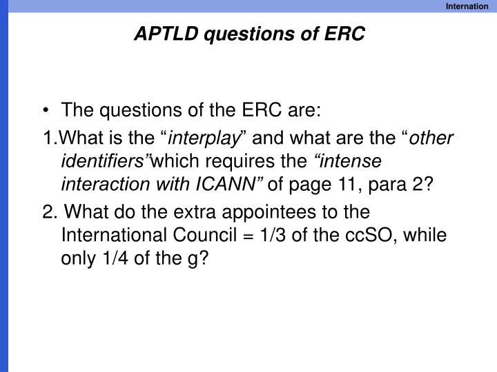 APTLD questions of ERC