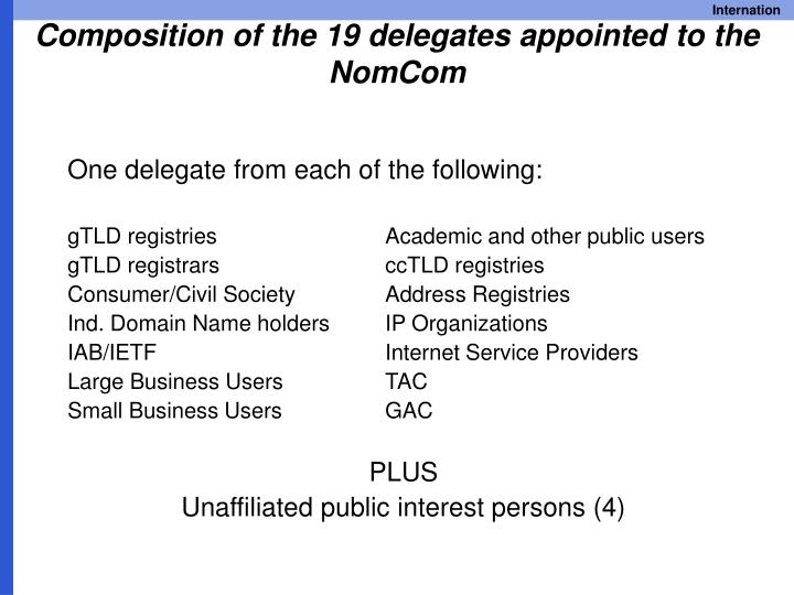 Composition of the 19 delegates appointed to the NomCom
