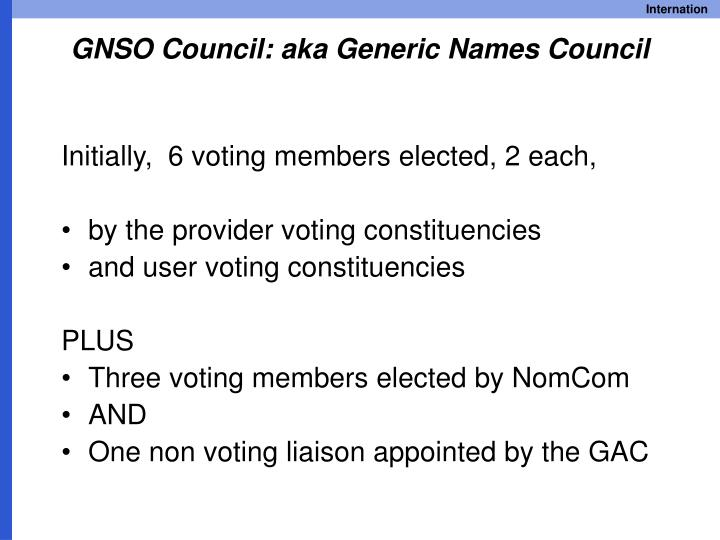 GNSO Council: aka Generic Names Council