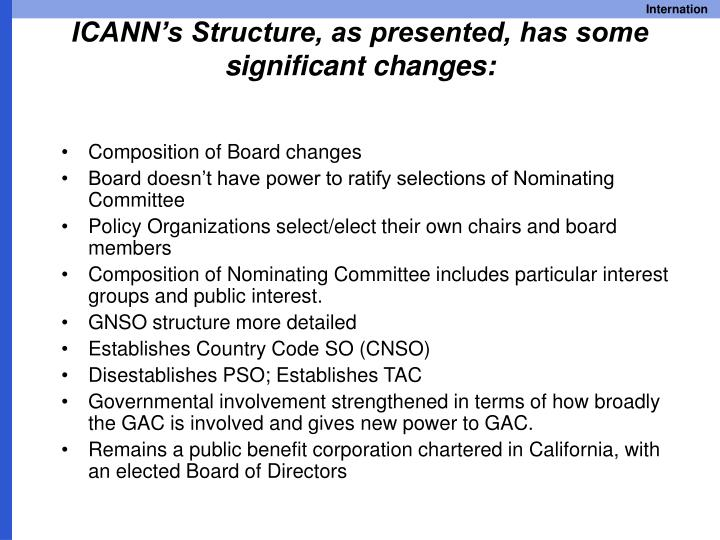 ICANN's Structure, as presented, has some significant changes:
