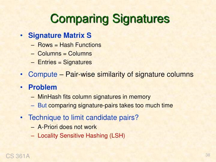 Comparing Signatures