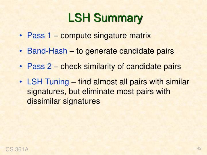 LSH Summary