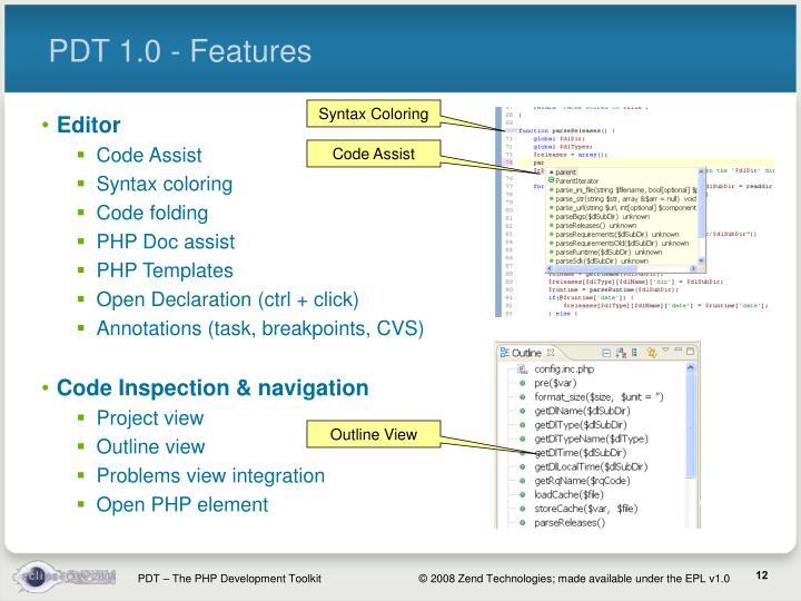 PDT 1.0 - Features