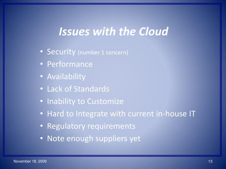 Issues with the Cloud