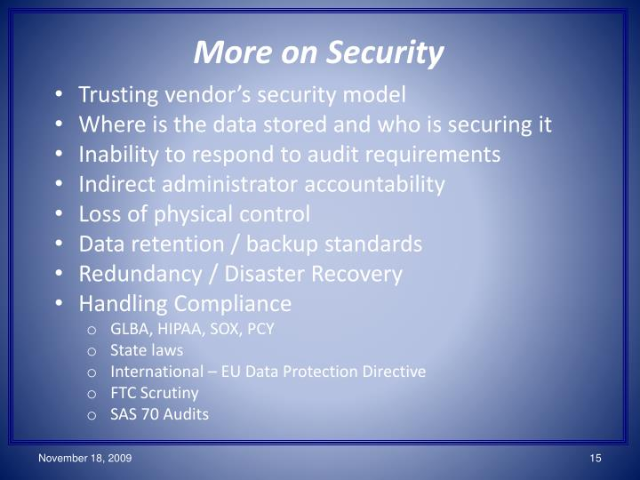 More on Security