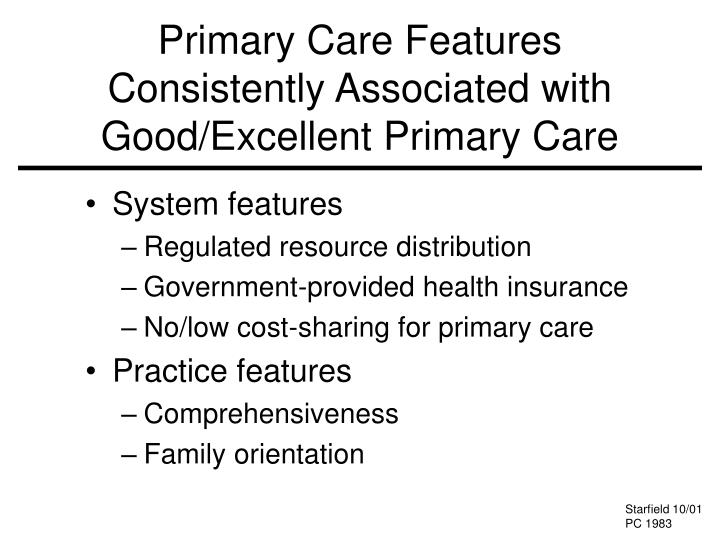 Primary Care Features Consistently Associated with Good/Excellent Primary Care