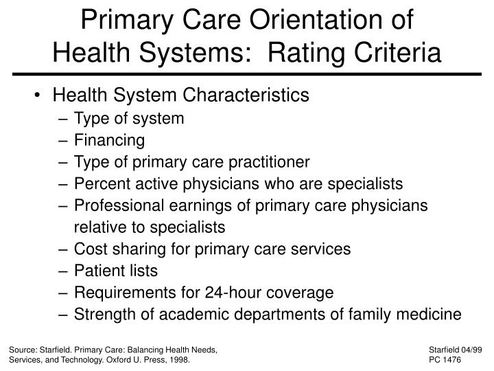 Primary Care Orientation of Health Systems:  Rating Criteria