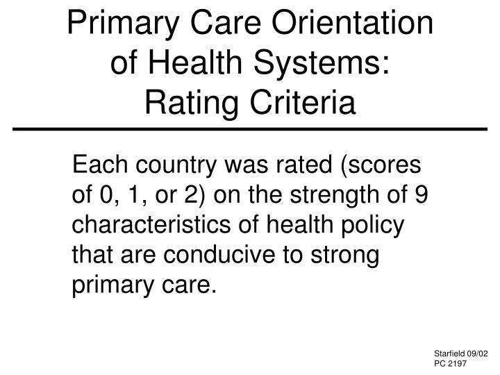 Primary Care Orientation
