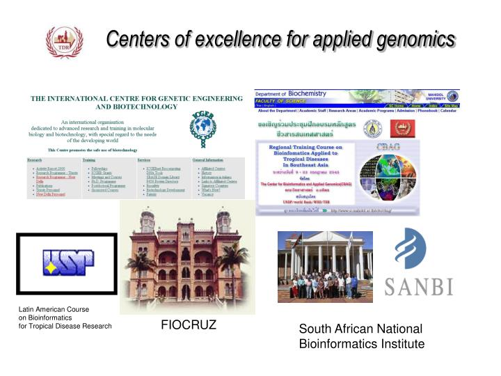Centers of excellence for applied genomics