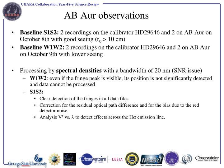AB Aur observations