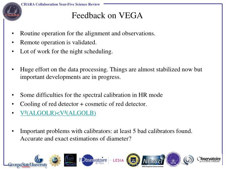 Feedback on VEGA
