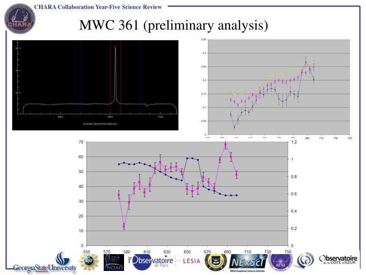 MWC 361 (preliminary analysis)