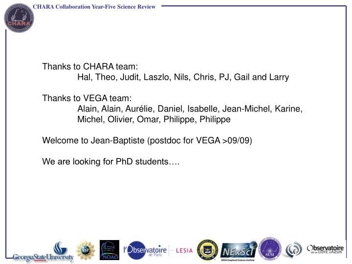 Thanks to CHARA team: