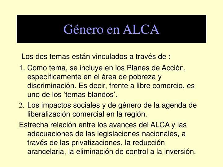 Género en ALCA