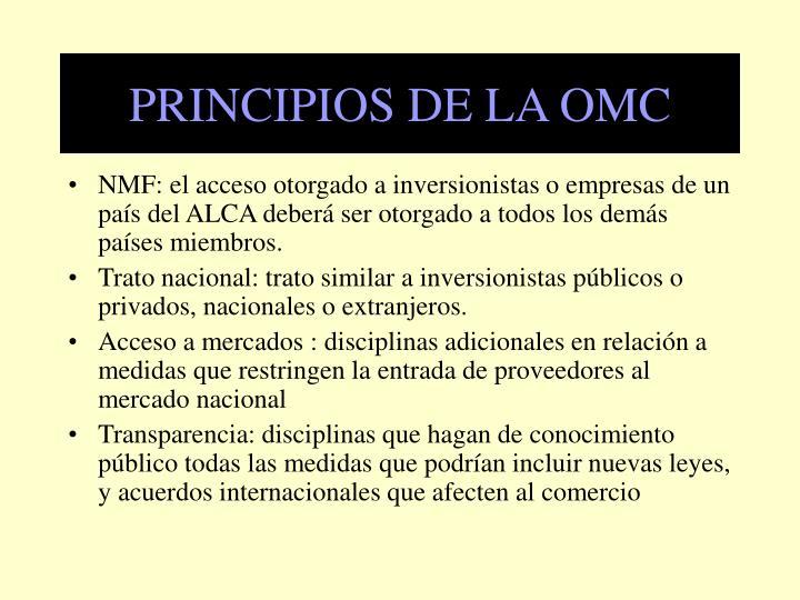 PRINCIPIOS DE LA OMC