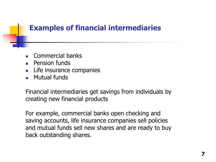 Examples of financial intermediaries