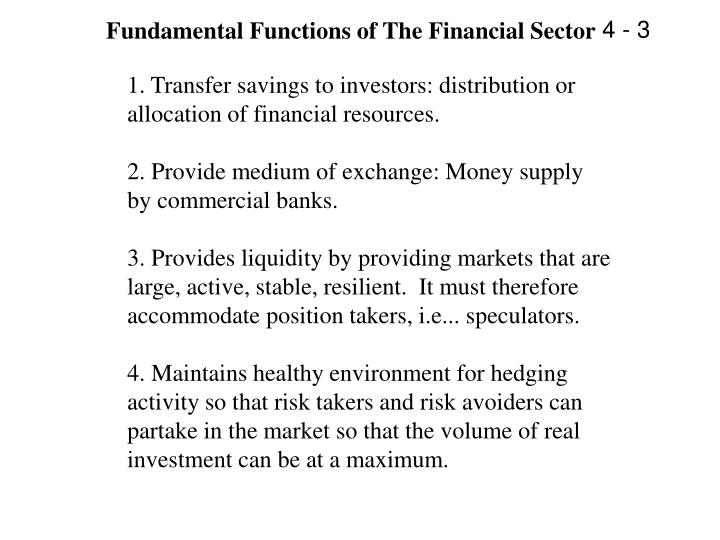 Fundamental Functions of The Financial Sector
