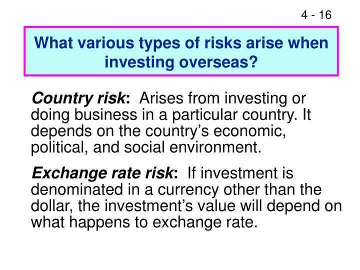 What various types of risks arise when investing overseas?