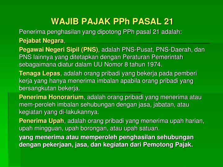 WAJIB PAJAK PPh PASAL 21