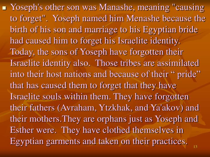 """Yoseph's other son was Manashe, meaning """"causing to forget"""".  Yoseph named him Menashe because the birth of his son and marriage to his Egyptian bride had caused him to forget his Israelite identity.  Today, the sons of Yoseph have forgotten their Israelite identity also.  Those tribes are assimilated into their host nations and because of their """" pride"""" that has caused them to forget that they have Israelite souls within them. They have forgotten their fathers (Avraham, Ytzkhak, and Ya'akov) and their mothers.They are orphans just as Yoseph and Esther were.  They have clothed themselves in Egyptian garments and taken on their practices."""