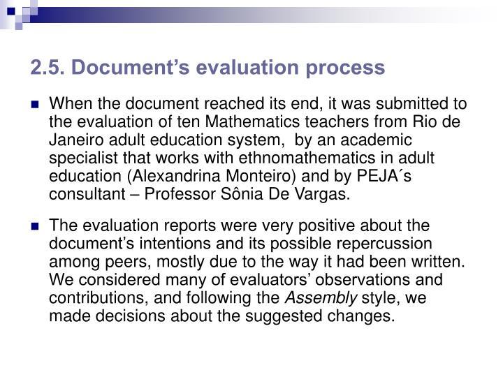 2.5. Document's evaluation process