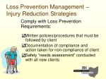 loss prevention management injury reduction strategies