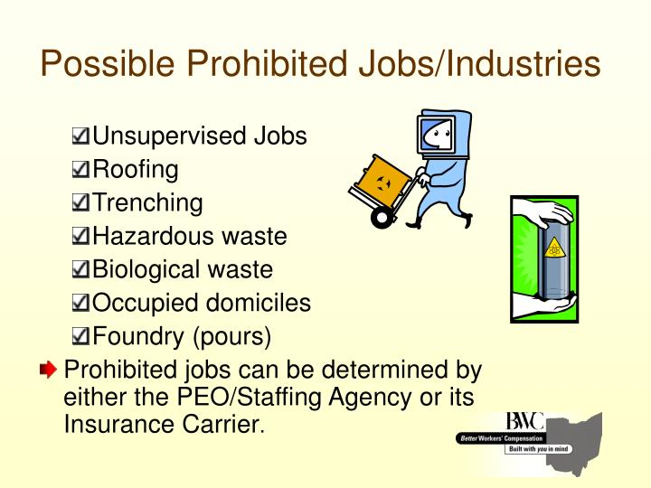 Possible Prohibited Jobs/Industries
