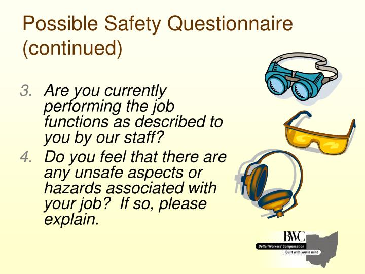 Possible Safety Questionnaire (continued)