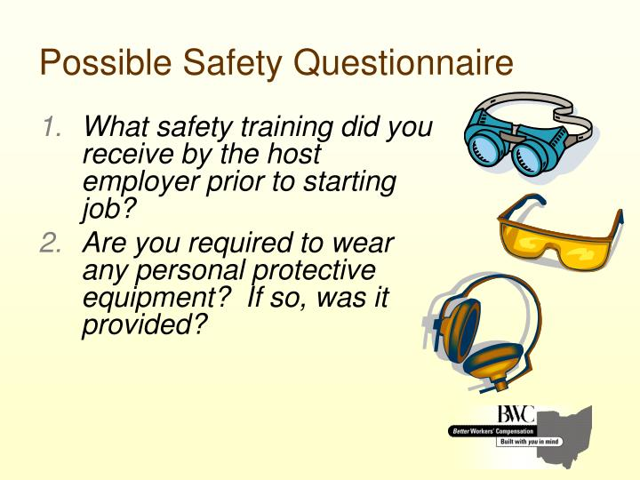 Possible Safety Questionnaire