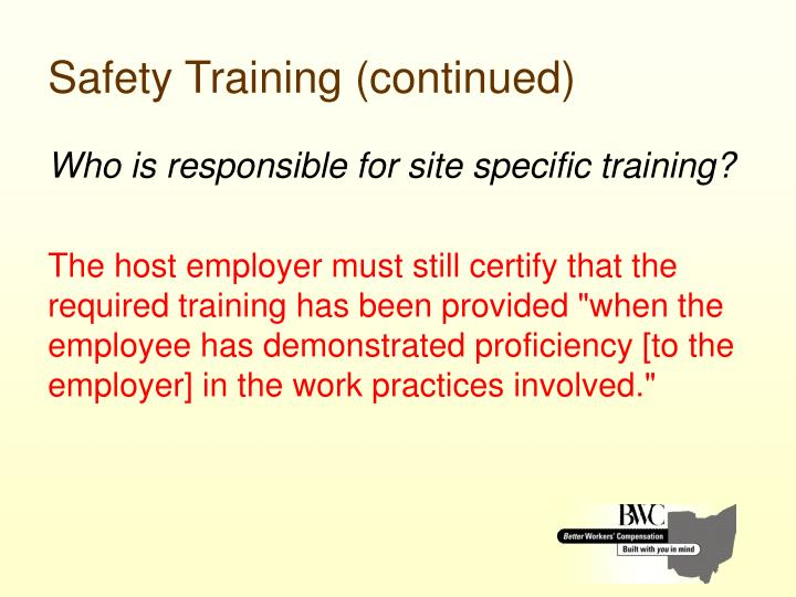 Safety Training (continued)
