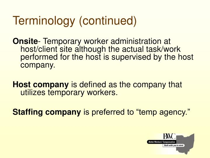 Terminology (continued)