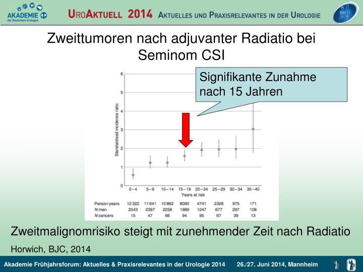 Zweittumoren nach adjuvanter Radiatio bei Seminom CSI