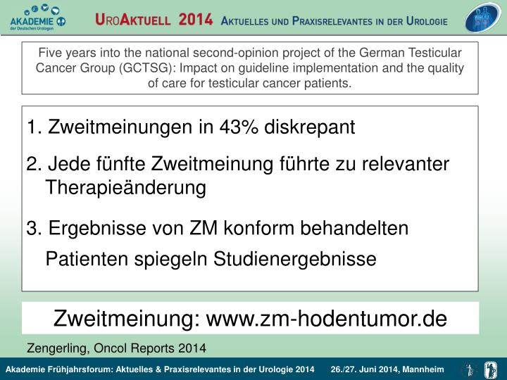 Five years into the national second-opinion project of the German Testicular Cancer Group (GCTSG): Impact on guideline implementation and the quality